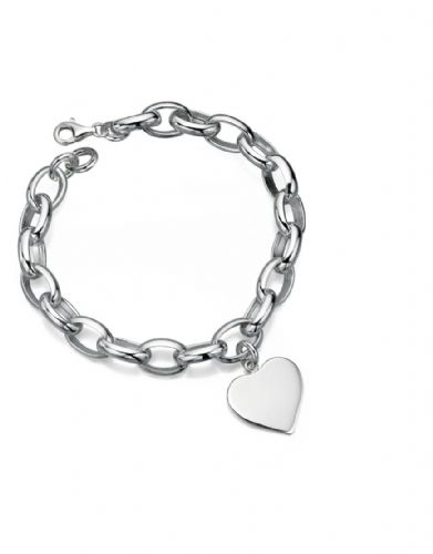 Links Bracelet with Engravable  Heart Charm
